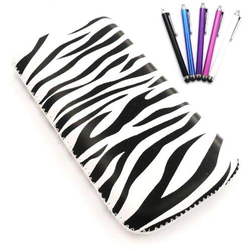 Apple Iphone 3g-zebra (Emartbuy Stylus Pack für Apple iPhone 3G / 3GS - Bundle von 5 Stylus + LCD displayschutz + Zebra Schwarz / Weiß Premium-PU-Leder-Tasche / Case / Sleeve / Halter (groß) mit Pull Tab Mechanismus)