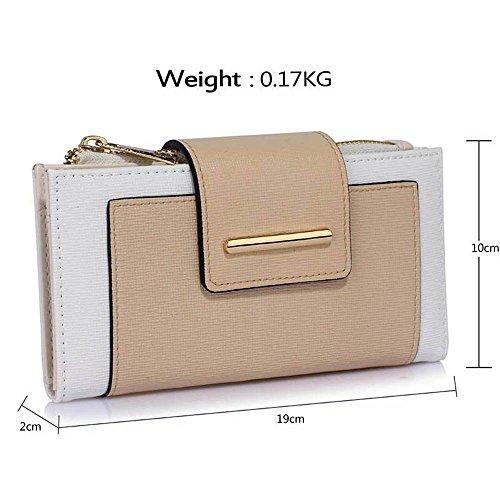 TrendStar Frauen Handtaschen Damen stilvolle Handtasche faux Leder Flap reißen Schliessen Geldbörse Mappen (Nackt/Marine) Weiß/Nude Geldbörse