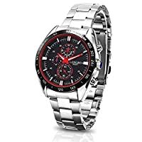 Stayoung Jewellery Trendy Black Dial Analog Quartz Roman Numeral Stainless Steel Watches for Men Waterproof