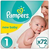 Pampers Premium Protection New Baby Gr. 1 (Newborn), 2–5 kg Halbmonatsbox, 72 Windeln