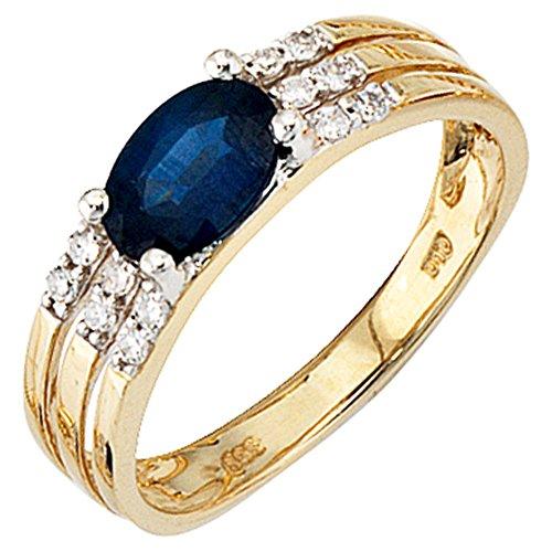 JOBO Damen Ring 585 Gold Gelbgold 1 blauer Safir 12 Diamanten Safirring Goldring Größe 60