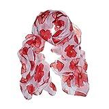 Amlaiworld Femmes Foulard rouge coquelicot fleur Wrap châle, 100cm*180cm (Blanc)