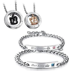 Flongo Pärchen Armband Halskette Set, Edelstahl Armband Armkette Partnerarmbänder Anhänger Halskette mit Gravur Her King, His Queen Krone Ring Partnerketten