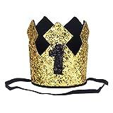 Freebily Baby Geburtstagskrone 1.Geburtstags Stirnband Hut Glänzend für Kinder Junge Mädchen Geburtstagsdeko Fotografie Party Kopfschmuck Gold&Schwarz 1 One Size