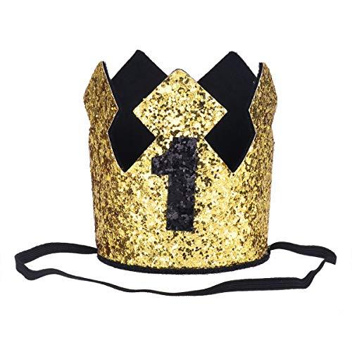 Tiaobug 1. Geburtstag Party Kronen mit Zahlen Baby Junge Mädchen 1 jahr Party Kopfschmuck Hut Prinzessin Prinz Kronen Dekoration Zubehör Accessoires für Fotoshooting Gold D One Size (Prinzessin Prinz Und Kronen)