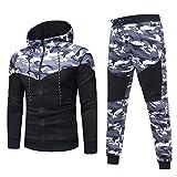 Sunnywill Herren Herbst Winter Camouflage Sweatshirt Top Hosen Sets Sport suit Anzug (Black, L)