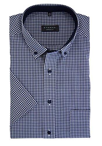 Eterna Half Sleeve Shirt Comfort Fit Poplin Checked blu marino/bianco
