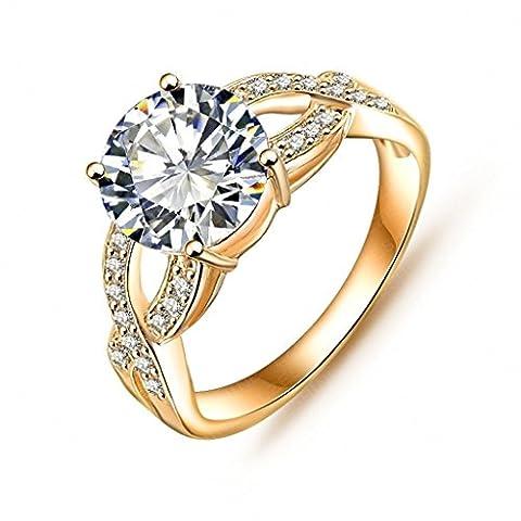 Daesar Vergoldet Ringe Damen Kreuz Ring Zirkonia Ring Strass Verlobungsring Stein Ring Größe: 49 (15.6)