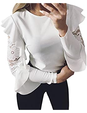 KanLin1986 Camisas Atractivas de Las Mujeres, Mujer Costura de Encaje Camiseta de Manga Larga con Cuello EN O...