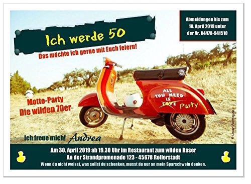80 Einladungen zum Geburtstag, für jedes Alter möglich, lustig witzig 50er 60er 70er 80er 90er Jahre Party Text änderbar, Größe 17 x 12 cm