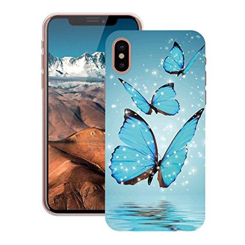 HB-Int Hülle für iPhone X Schutzhülle Transparent mit Plum Blumen Muster Etui Silikon Handyhülle Flexible Slim Case Cover Ultra Dünn Durchsichtige Handytasche Blau Schmetterling
