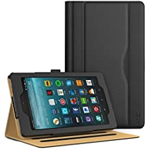 ATiC Amazon Fire 7 2017 Funda - Ultra Slim Función de Soporte Smart Cover Case Plegable para All-New Fire 7 Tablet, Auto Sueño/Estela con Ranuras del Documento para Tarjetas, Negro