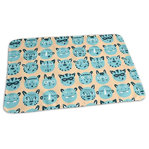 Animal Faces Blue Animal Trendy Hipster Bear Kids Nursery Baby Design Baby Portable Reusable Changing Pad Mat 19.7x 27.5 inch