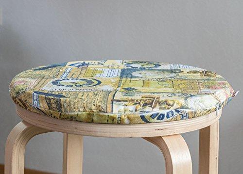 """beties """"Zeitreise"""" Stuhl-/Sitzkissen rund ca. 36x3 cm Sortiments-/Größenauswahl – historisch Postkarten-Stil (greenery-mix)"""
