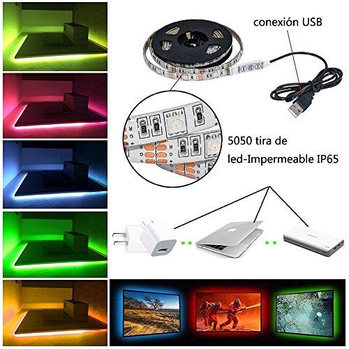 Simfonio Tiras LED Iluminación 1m 5v 30leds IP65 Impermeable 5050 SMD RGB Multicolor Tira de Led Kit Completo con Mini Control y Conexión USB para TV, HDTV, Pantalla LCD, Portátil, Sobremesa, Dormitorio