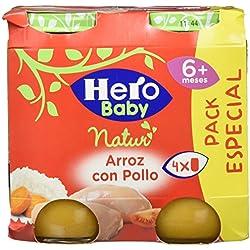 Hero Baby Natur Potito de Arroz con Pollo para Bebés a partir de 6 meses Pack de 4 x 235 g