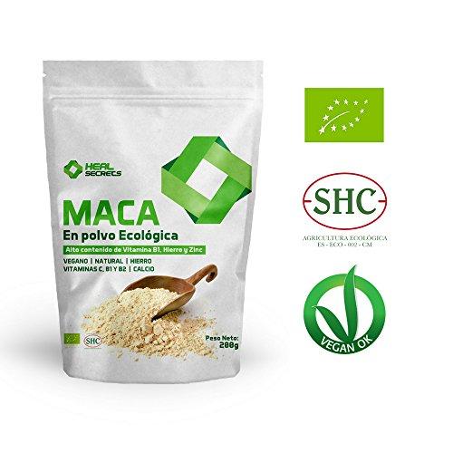 Maca en Polvo Organica Superalimentos Heal Secrets Alto contenido de Vitamina B! Hierro y Zinc 100{27809e7b1b9749ffa2cadc250bab9a290239d2f2982cf655192143f57a7f41e2} Vegano Polvo de Maca Orgánico Premium