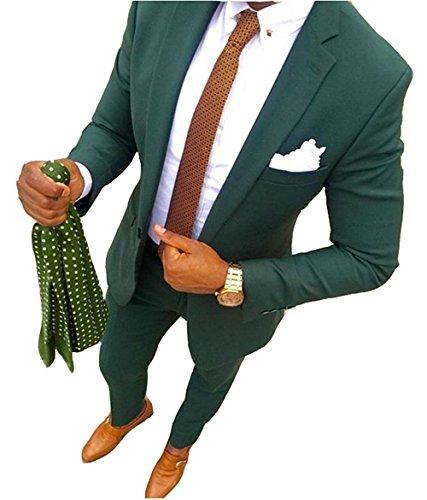 YSMO Herren 2 Stück Anzüge Slim Business Green Anzug Best Man Männlich Mantel