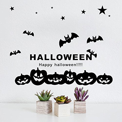 glückliches Halloween 60x50cm Hexe-Schläger-Kürbis-Wand-Aufkleber-Fenster-Ausgangsdekoration-Abziehbild-Dekor (Schwarz) (Halloween-dekoration Hexe Silhouette)