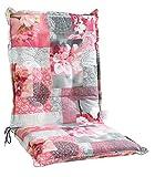 Sesselauflage Sitzpolster Gartenstuhlauflage für Mittellehner COREY 5 | B 50 cm x L 110 cm | Grau-Rosa | Baumwolle