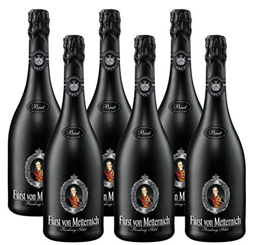 FÜRST VON METTERNICH Riesling Sekt Brut (6 x 0.75 l) ǁ BLACK EDITION ǀ moderner Riesling ǀ Premiumsekt aus edlen deutschen Weinen ǀ besondere Anlässe