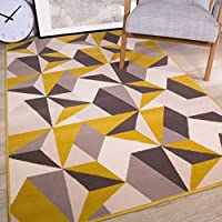 Milan Ochre Mustard Yellow Grey Beige Geometric Kaleidoscope Traditional  Living Room Rug