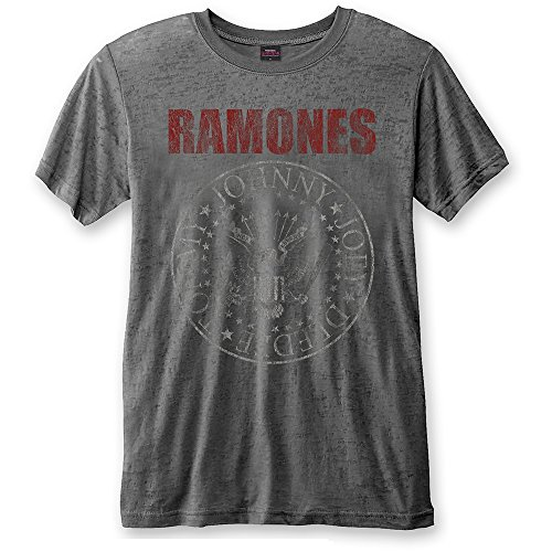 Rock Icon - Ramones Rock Band Premium Herren T-Shirt - Red Seal Logo (Grau) (S-XL) (S) Pinhead Cap