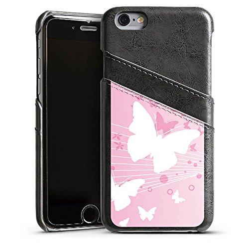 Apple iPhone 5 Housse Étui Silicone Coque Protection Papillon Cercles Fleurs Étui en cuir gris