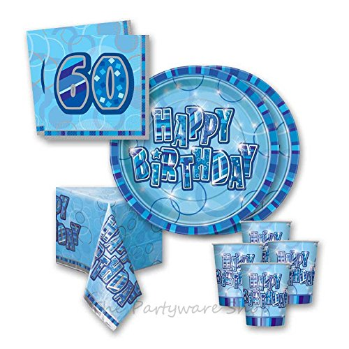 Blue Glitz 60th Birthday Party Tableware Pack for 16 by The Partyware Shop