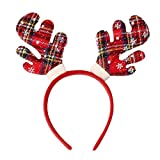 Amaone Christmas Headband, Reindeer Antler Christmas Hat Hair Hoop Head Band Headwear Costume Accessories Decoration For Kids And Adults Xmas Holiday Party Decor Green Red