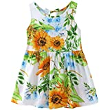 Outtop(TM) 1Pcs Summer Cartoon Floral Dress Clothes Sundress Casual Dresses 24M(18~24months) Yellow
