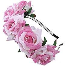 Las niñas Rosa Flores corona diadema–o de la novia Bridemaid diadema flores guirnalda cabeza, estilos de Bohemia Halloween Tocado