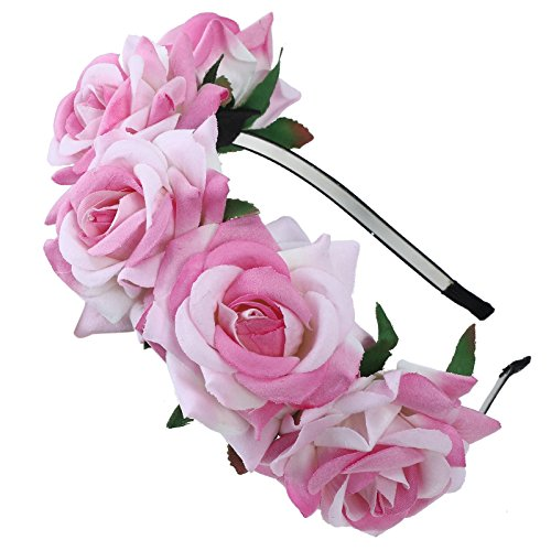(AWAYTR Mädchen Braut Blumenkrone Stirnband Haarband Blumen Girlande Kopfstück zum Hochzeit Parteien (Hell-Pink))