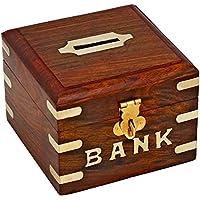 Preisvergleich für WhopperIndia Handgefertigt Holz Aufbewahrung Geld Bank Münzen Aufbewahrungsbox mit Einlegearbeiten für Kinder 11,4cm
