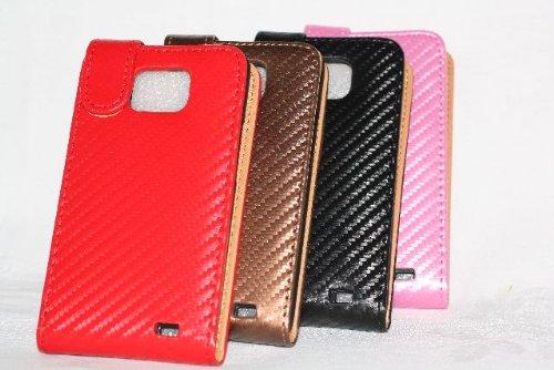 Carbon Fiber Flip Case Tasche für Samsung Galaxy S2 SII S II I9100, SCHWARZ