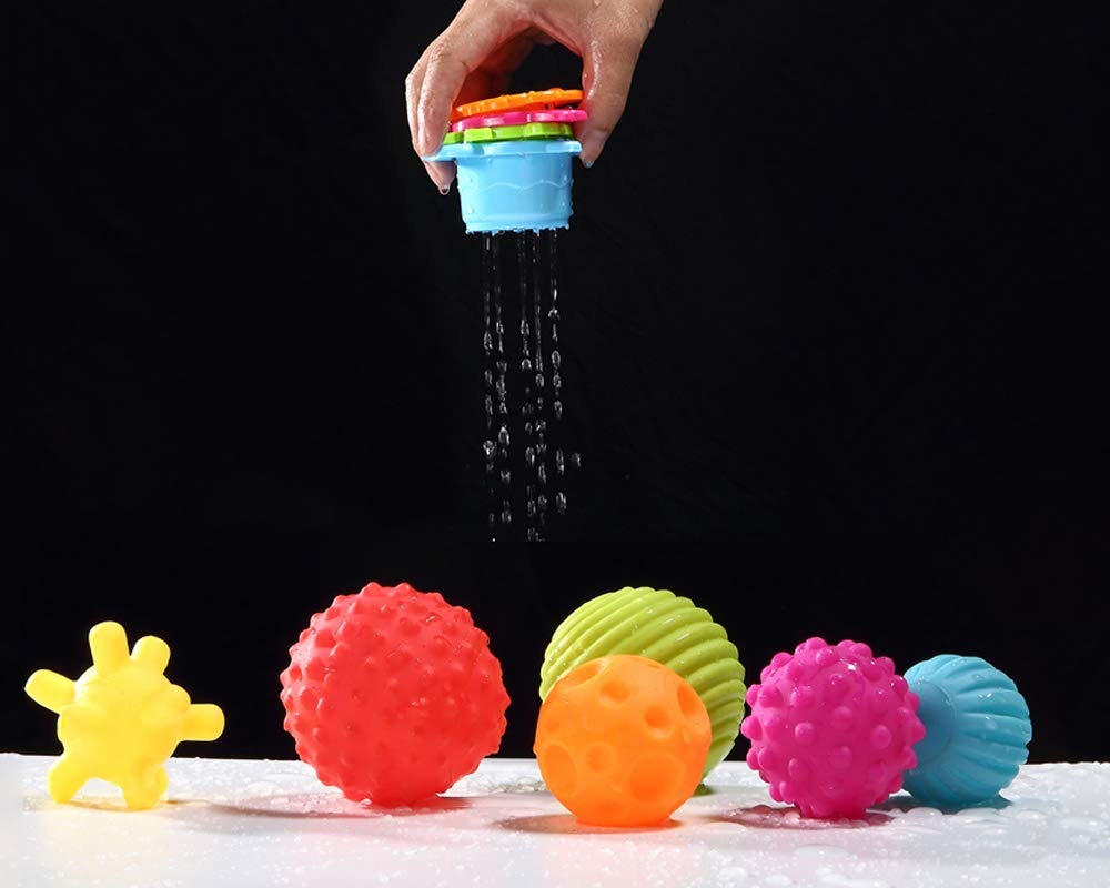 Sensory Balls for Baby- Great Variety In Texture and Color - Kids Rainbow Bath Toys- 6 Colorful Soft and Squeeze Sensory Toy + 4 Stacking Cups Set for Babies & Toddlers - Kids BPA Free Water Toy 2