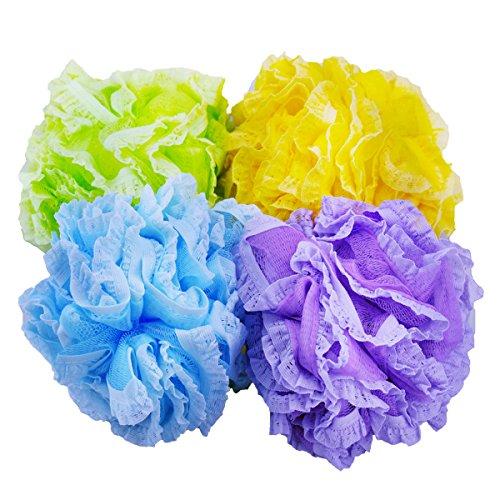 Umweltfreundlicher Badeschwamm aus Netz- und Spitze-Stoff, 4 Stück und 4verschiedene zufällige Farben. -