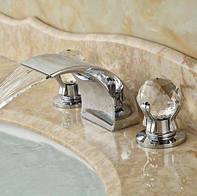 WYMBS Decorate mobili bagno lavabo rubinetto diffusa contemporanea cascata con valvola ceramica due maniglie di (2 Maniglia Diffuso Rubinetto Di Lavabo)