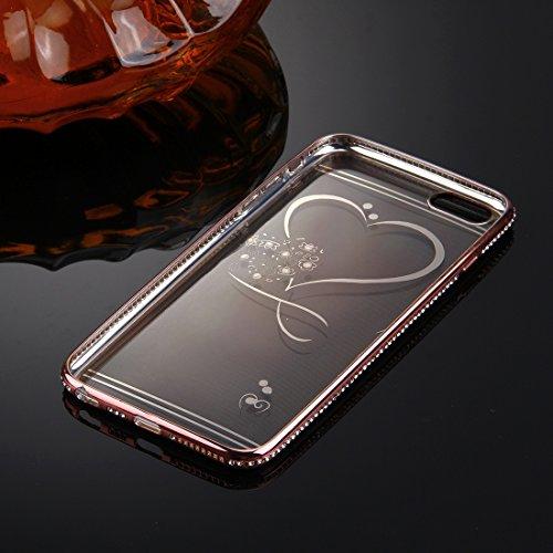 iPhone 6s 6 Case, KrygerShield® - Luxus Leichte super dünnen Diamant Auto Cover - Rose Gold (Anhänger) Gold (Heart)