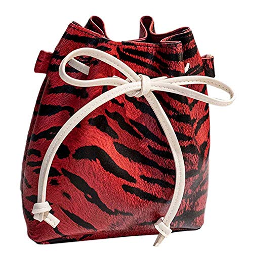 Mode Damen Leopard-Druck Schulter Tasche Bote Tasche Sexy Modus Glamourös Mini Klassisch Party Beiläufig Retro Eimer Tasche (Schulter Leopard-druck Tasche)