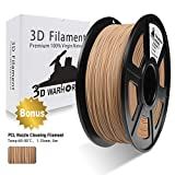 Real Wood PLA 3D Printer Filament?Wood Filament 1.75 mm,1KG(2.2LBS) Spool, Dimensional Accuracy +/- 0.02 mm,Wood Filament?Bonus with 5M PCL Nozzle Cleaning Filament