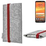 flat.design Handy Hülle Coimbra für Motorola Moto E5 Plus Dual-SIM individualisierbare Handytasche Filz Tasche rot grau