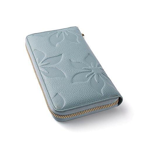 BOSTANTEN Vera Pelle Donna Portafoglio Cuoio Porta Carta di Credito Portatessere Portamoneta A Polso Frizione Pattern azzurro