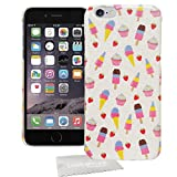 Stylebitz / weiß-pinkes Hardcase in Erdbeer-Optik ICE CREAM PU für Apple iPhone 6 (4.7