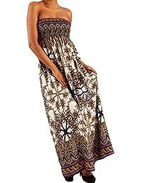 Young-Fashion Damen Maxikleid Hippie Bandeau Long Dress Strandkleid  Trägerlos Langes Kleid für Frühling und Sommer Jumper aus aus… 90670caad0