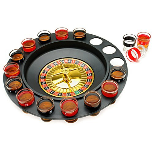 The Premium Drinking Roulette Game - 16 Shot Glasses, 2 Balls Set - Spinning Wheel - Ultimate Russian Play Party Casino Adult Fun - Great for Birthday, Bachelor, Family or Frat Party - Great Gift by Grill Lovers