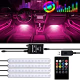 Car LED Strip Light, 4pcs 48LED Car Interior Lights USB Charger Multicolor Music Led Strip Lighting Kit RGB Footwell Lights with Sound Active Function, Wireless Remote Control