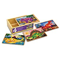 Melissa & Doug Vehicles Jigsaw Puzzles in a Box, Four Wooden Puzzles, Sturdy Wooden Storage Box,