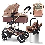 GSDZN 3 in 1 Passeggino Cestino del Bambino Buggy Peso Leggero Sistema Combinato con La Borsa della Mamma 0-3 Anni,A3