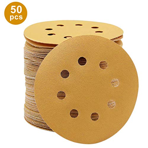 r, 5 Zoll Premium Round Orbital Sandpapier, Sander Papier Gelb Beschichtung für Möbel Primer Polieren - 60 ()